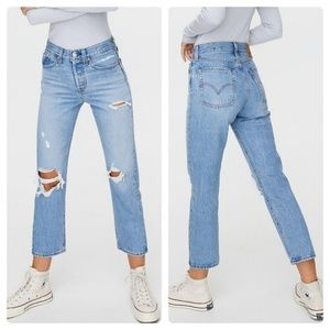Levi Wedgie Straight Distressed Button Fly Jeans